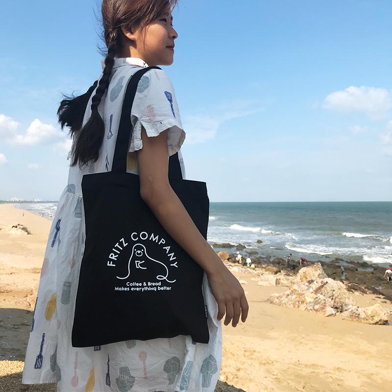 韩国INS简约ulzzang百搭单肩帆布包2018新款chic帆布袋包包女