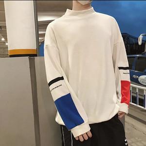 2018秋季情侶新款長袖T恤韓版寬松高領學生打底衫外套現貨