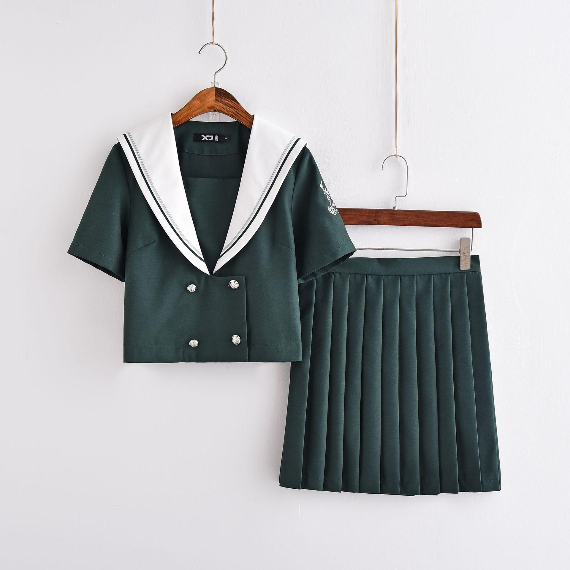 日本JK制服正统水手服秋冬墨绿套装学院风软妹女学生校班服