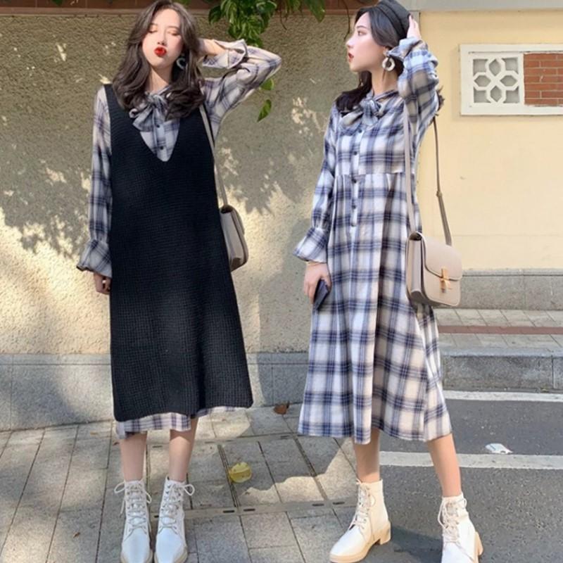 新款怀孕期韩版两件套春秋款潮妈2019孕妇春装连衣裙套装时尚款
