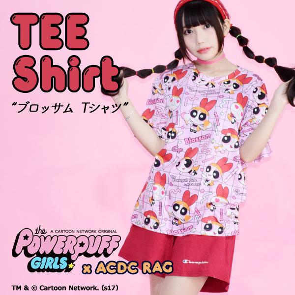 原宿acdc rag日系少女可爱甜美五色复古常规款飞天小女警宽松T恤
