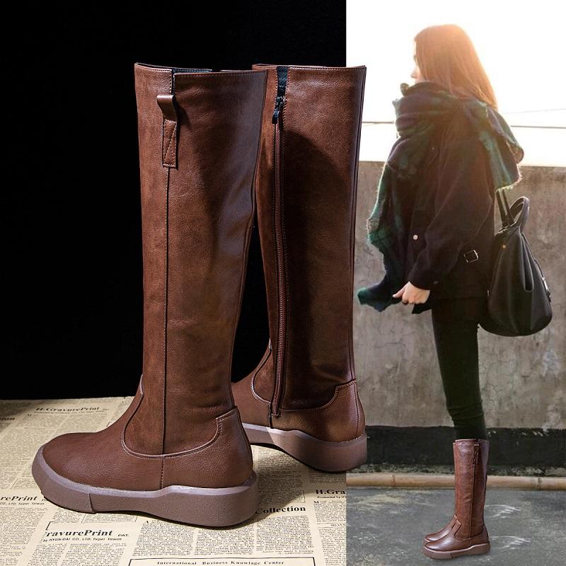 长筒靴女骑士靴2020秋冬季新款网红皮靴子不过膝靴平底显瘦高筒靴