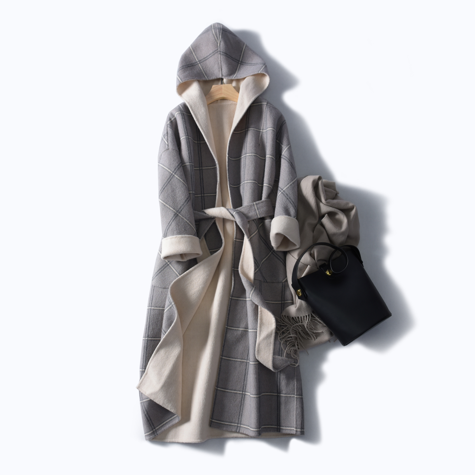 Warehouse Clearance without return and exchange outer single large British style hooded double-sided cashmere loose casual long coat