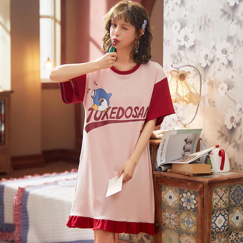 依梦美~2020年夏季新款睡衣短袖睡裙女士休闲居家服可外穿6535棉