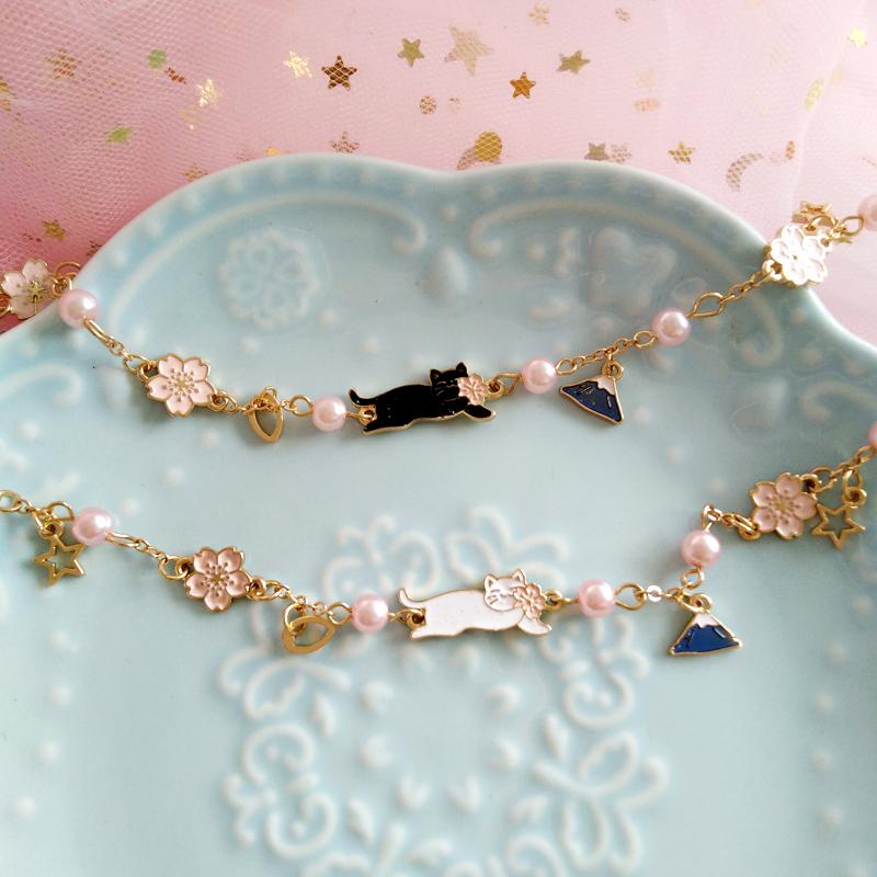 日系可爱少女心猫咪樱花唯美手链趣味富士山吊坠气质温柔珍珠手饰
