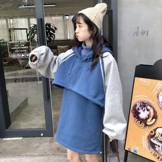 韩版时尚休闲套装秋冬拼色短款连帽卫衣外套+高领背心裙两件套女