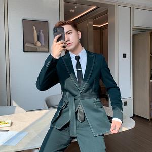 POP男装秋冬西服套装韩版修身车边线帅气绑腰西装男套装两件套潮