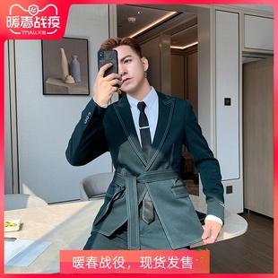 车边线帅气绑腰西装 两件套潮 韩版 POP男装 修身 秋冬西服套装 男套装