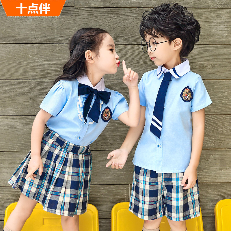 小学生校服夏季英伦学院风幼儿园班服毕业拍照服儿童套装纯棉夏天
