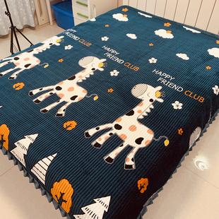 水晶绒床盖毯单件榻榻米欧式 绗缝垫冬季 夹棉床单大炕毯铺床三件套