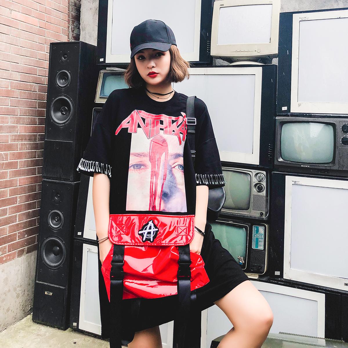 KAKOO欧美范大口袋字母印花飘带T恤裙女夏季新款短袖中长款连衣裙