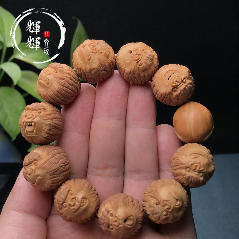 怒霸狂星时代猴头核桃纯手工雕刻制作加寿桃长寿野生精品文玩手串