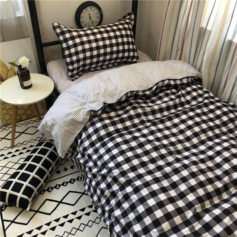 满70.00元可用35元优惠券北欧简约ins学生男女宿舍三件套格子1.5米被套床单床上用品四件套