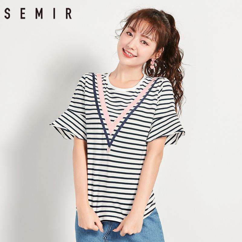 森马官方店短袖t恤女2018夏季新款条纹显瘦女装韩版潮喇叭袖