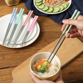 筷子家用餐具不锈钢吃火锅筷子创意个性防滑尖头厨房耐高温铁筷子
