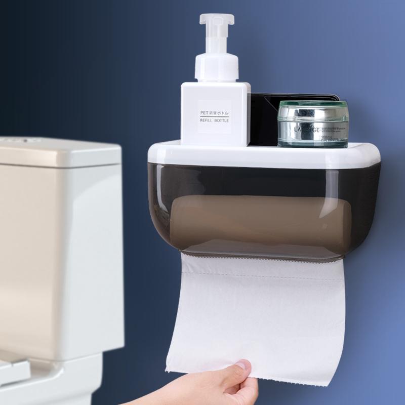 手纸盒卫生间厕所纸巾盒免打孔卷纸筒抽纸厕纸盒防水卫生纸置物架9.90元包邮