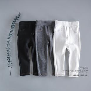 子黑白色 儿童装 新款 秋冬打底裤 宝宝女童纯棉磨毛加厚外穿弹力长裤