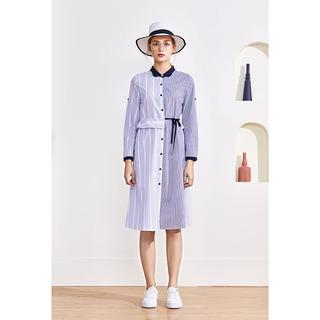 品牌折扣外贸专柜2020秋季新品时尚百搭纯棉长款条纹衬衫裙女装S
