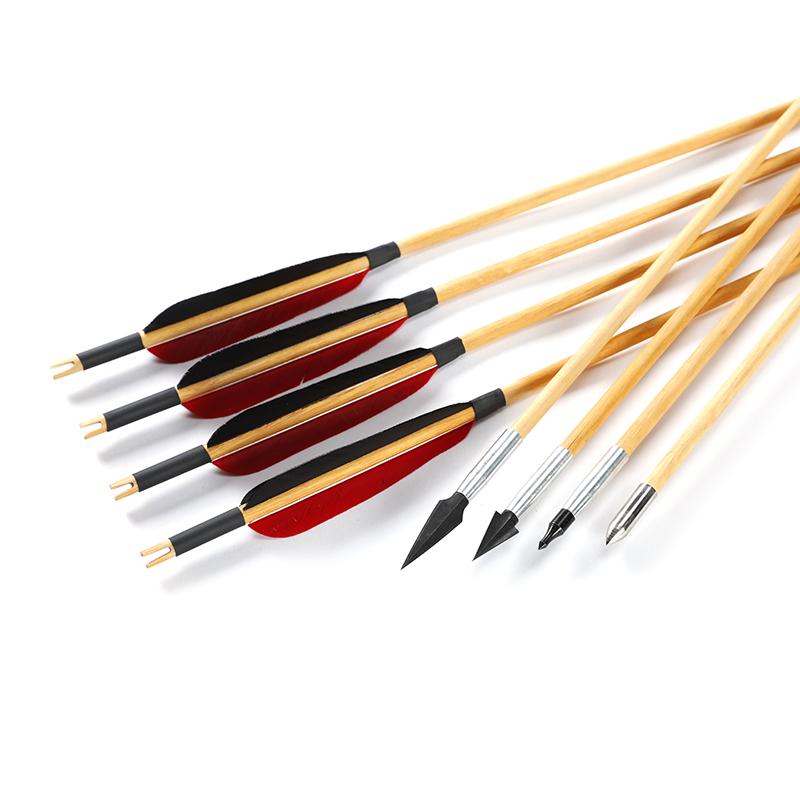 弓箭箭支可换头仿古代杀伤力传统弓反曲弓真羽木箭射箭练习箭包邮