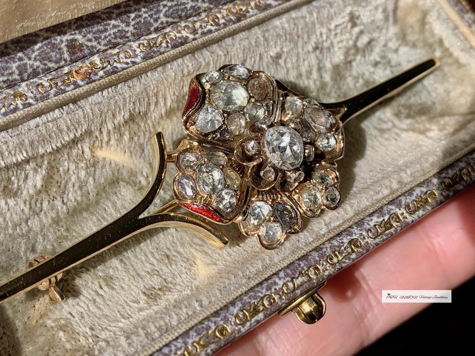 イギリスジョージ時代のバラの古いカットダイヤモンド群花冠盤エドワード時代の古いものの新作黄金骨董品のブローチ