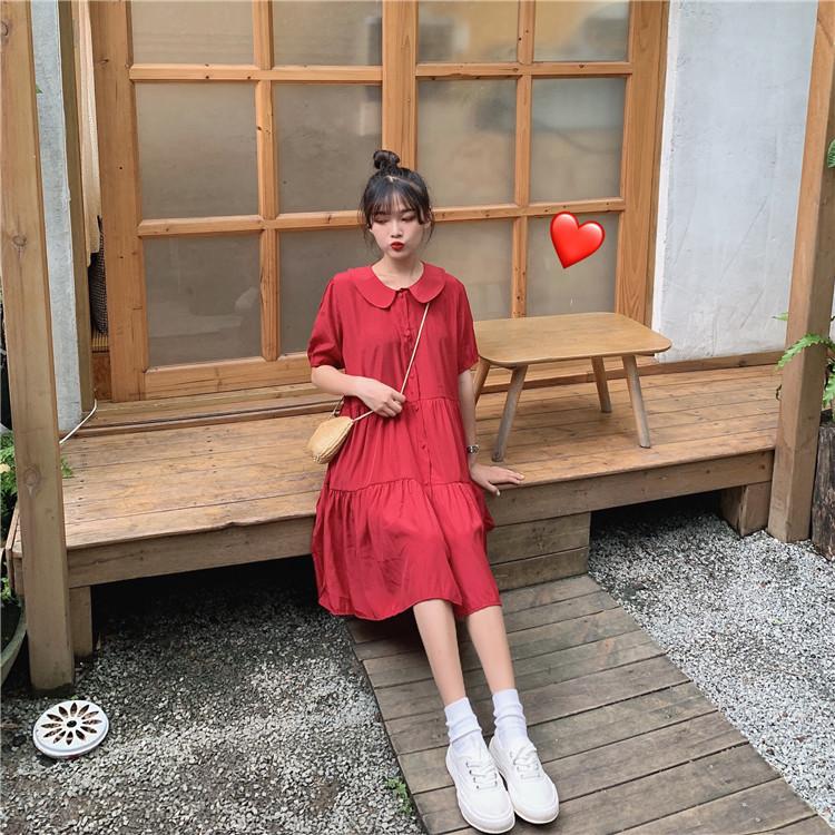 控5 实拍实价韩版简约宽松灯笼袖娃娃领大摆裙学生连衣裙
