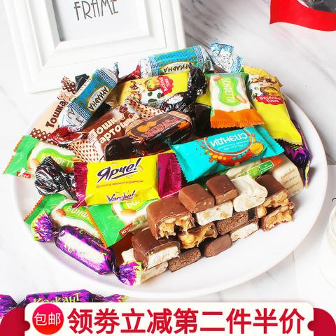 俄罗斯原装进口kdv混合散装夹心巧克力牛奶榛果仁紫皮糖果零食品