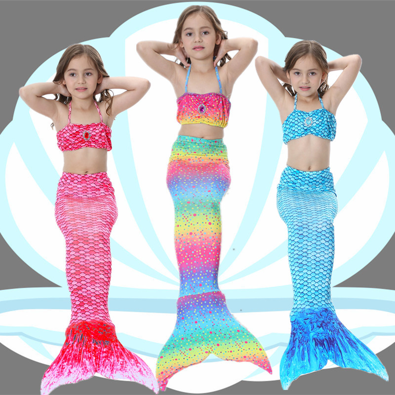 Mermaid tail children swimsuit Mermaid Princess Girl cos clothing baby photography girl swimsuit three pieces