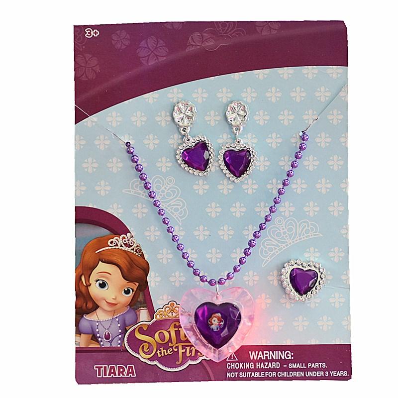 小公主蘇菲亞發光項鏈套裝護身符閃光項鏈戒指無耳洞耳夾女童配飾