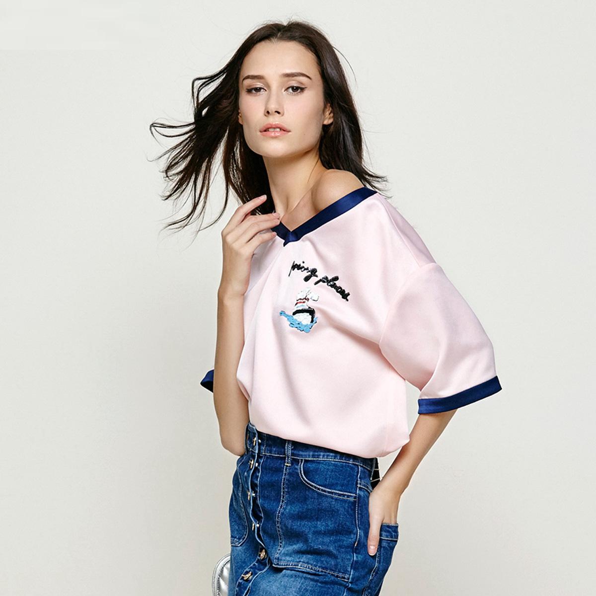 Five Plus新女夏装拼接刺绣亮片图案宽松V领短袖衬衫2JM2012330