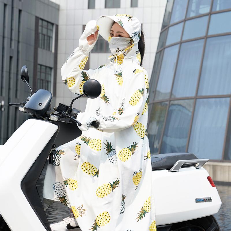 骑车电动车摩托车防晒衣女夏全身中长款防紫外线神器电瓶车装备帽
