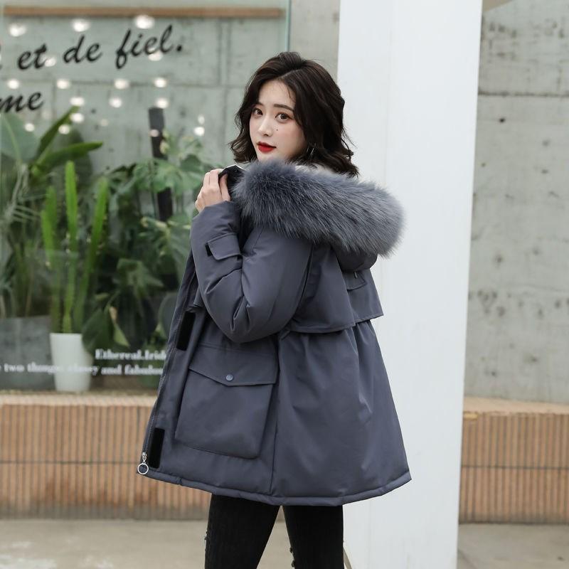 大毛领2020冬季加厚棉服女潮韩版宽松中长款棉袄派克服棉衣外套女