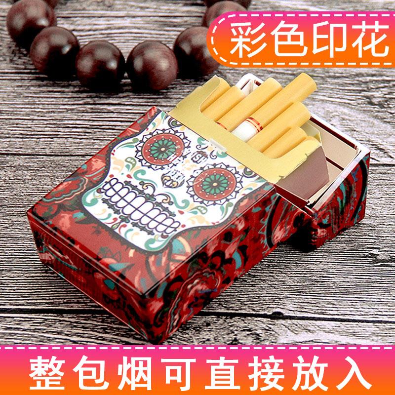 创意骷髅印花自动弹盖塑料香菸盒子10月22日最新优惠