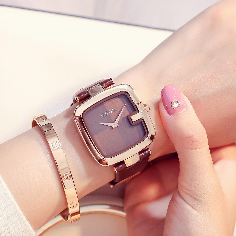 GUOU古欧女表新款中性方形手表潮流女士手表真皮石英Watch手表女