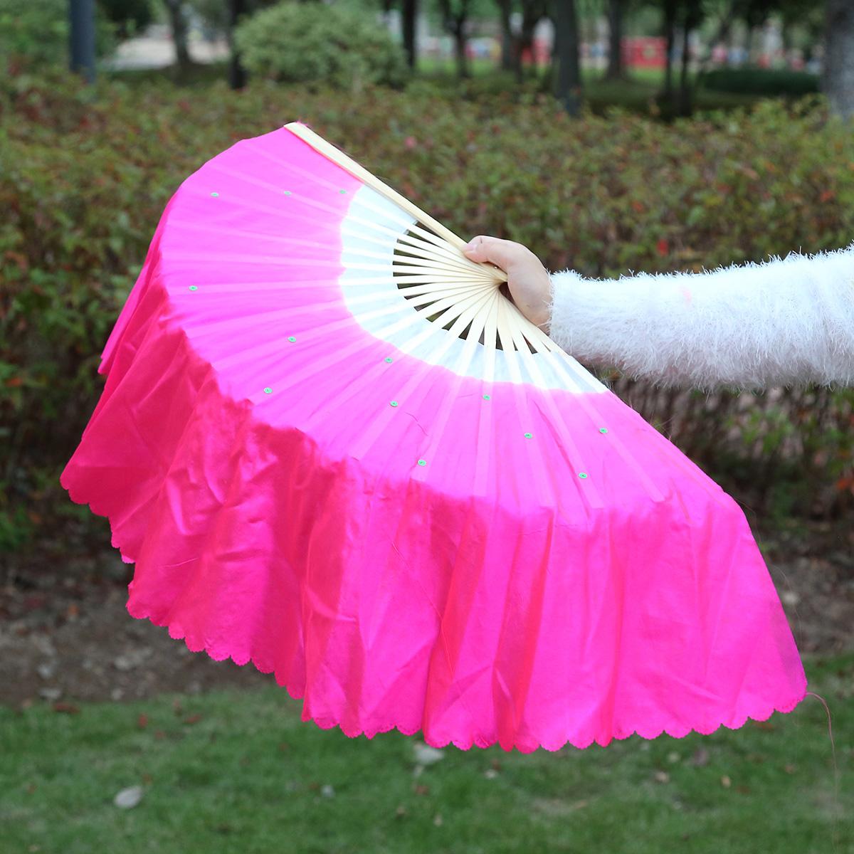 真丝舞蹈扇子跳舞扇子双面一对演出左右手胶州扭秧歌扇广场舞扇子