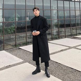 过膝韩版 秋冬加厚超长呢子大衣男长款 潮英伦风毛呢风衣外套双排扣