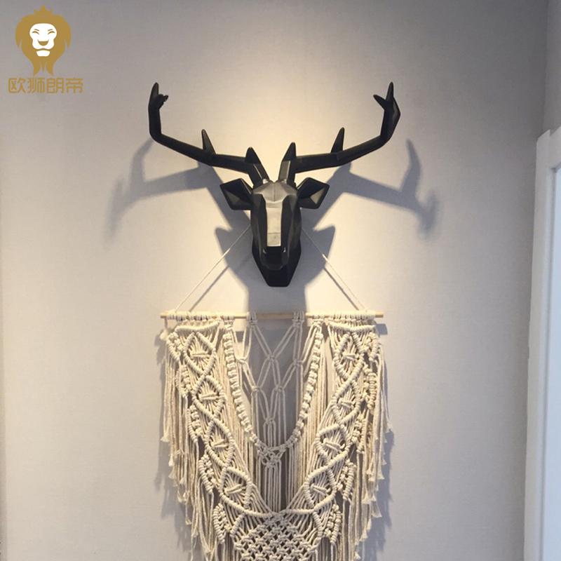 INS北欧鹿头壁挂装饰墙面客厅电视墙玄关招财立体几何鹿挂件挂钩
