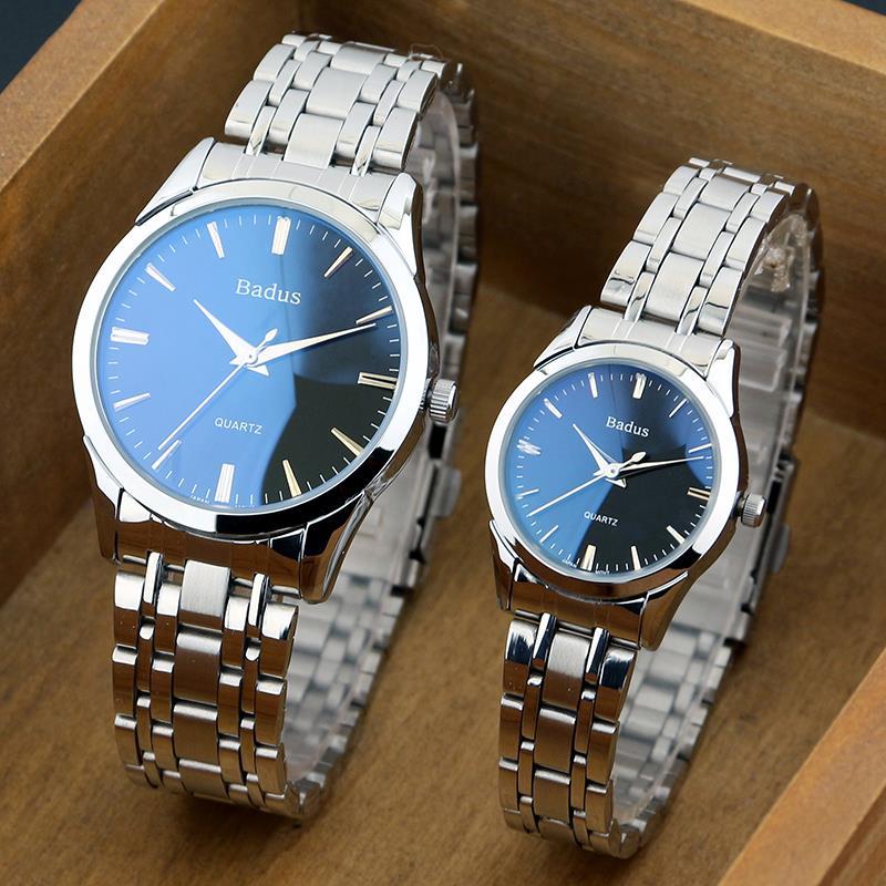 时尚佰镀时手表精品蓝色腕表双日历钢带女士潮表进口机芯手表男生