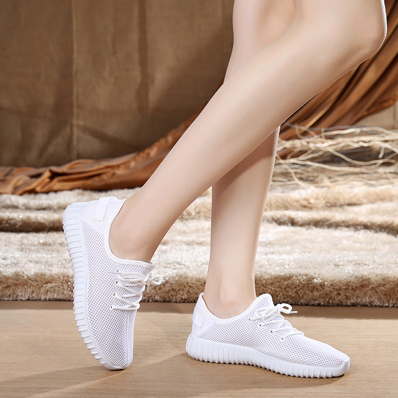 Middle aged and elderly mesh shoes womens breathable mesh sports shoes ultra thin summer white pink single shoes mesh shoes low top women
