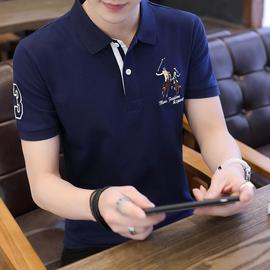 2020夏季纯棉POLO衫男短袖T恤帅气马标翻领修身韩版男装拼色上衣