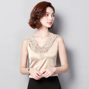 緞面蕾絲V領樹葉吊帶背心女內搭無袖T恤打底衫氣質上衣外穿小背心
