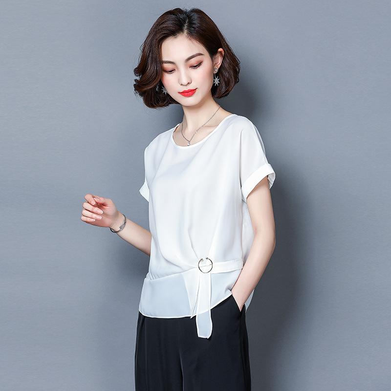 2018夏季国际一线品牌女装复古秋水伊人新款正品套头显瘦短袖衬衫