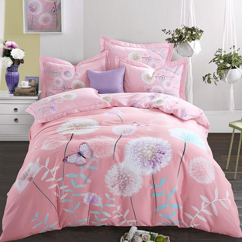 Chengming mercury 100% cotton thickened four piece set of all cotton autumn and winter bed sheet quilt cover 1.8 bedding