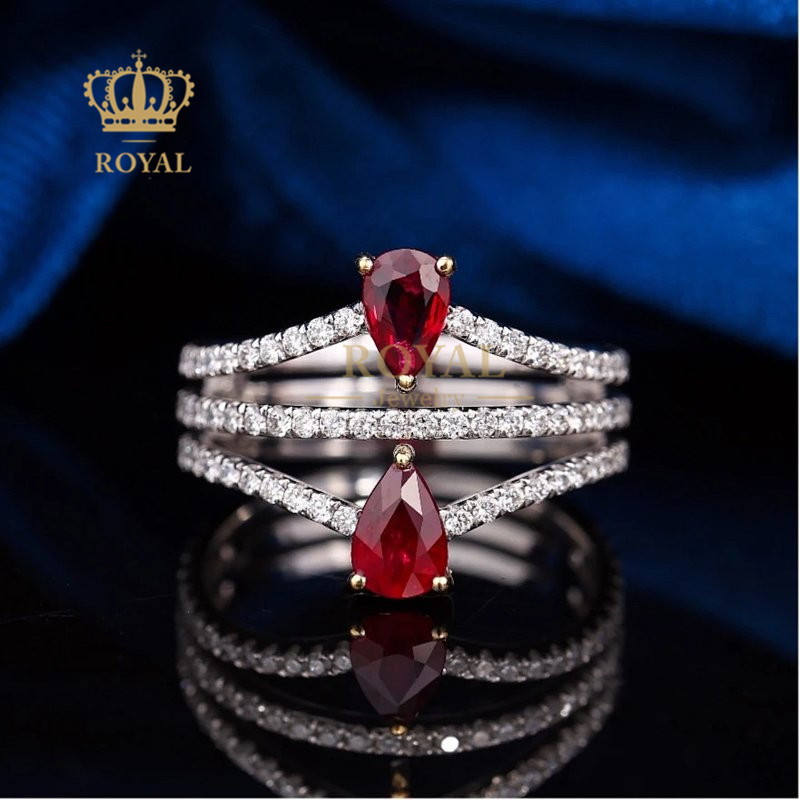 Royal jewelry 0.86ct Ruby Ring Diamond 0.688ct18k gold inlaid gift for girlfriend