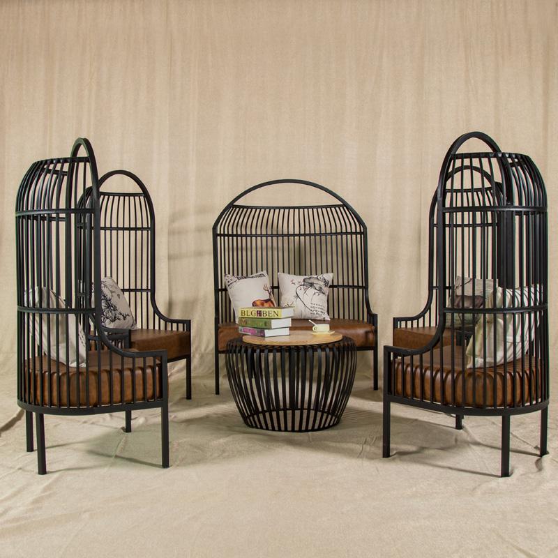 LOFT винтаж Птичья клетка Американский кованый диван железа Гостиничный отдых приемный стол и стулья для дивана Yingzhong Industrial style