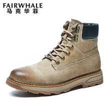 Mark Huafei winter Martin boots men's high top shoes and Plush Snow Boots middle top cotton shoes men's work clothes boots men's fashion