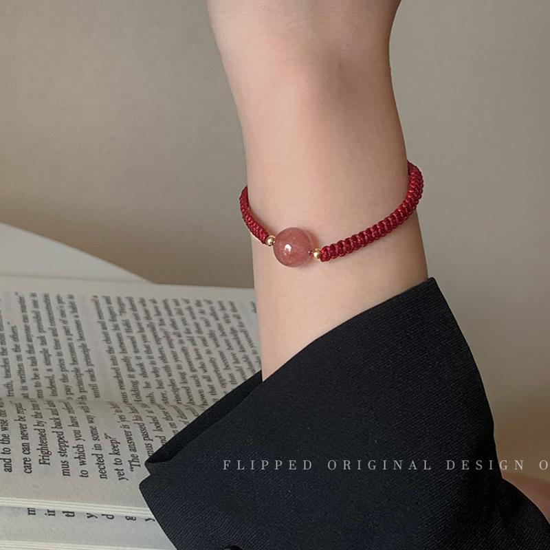 草莓晶红绳编织情侣手链女生ins简约小众设计闺蜜招桃花手绳手饰