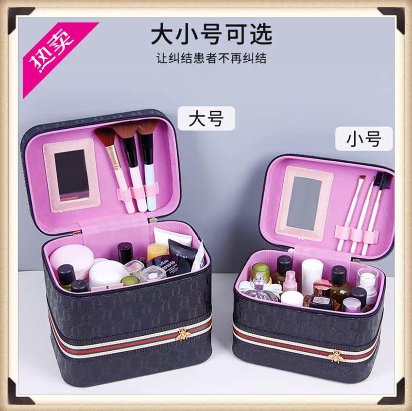 适用美容师手提化妆包收纳箱手拎方盒时尚彩妆师收纳包出差居家