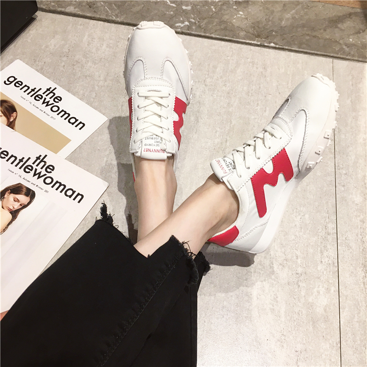 Small white shoes womens summer new versatile net red leather Oxford cloth breathable sports casual popular ins board shoes trend
