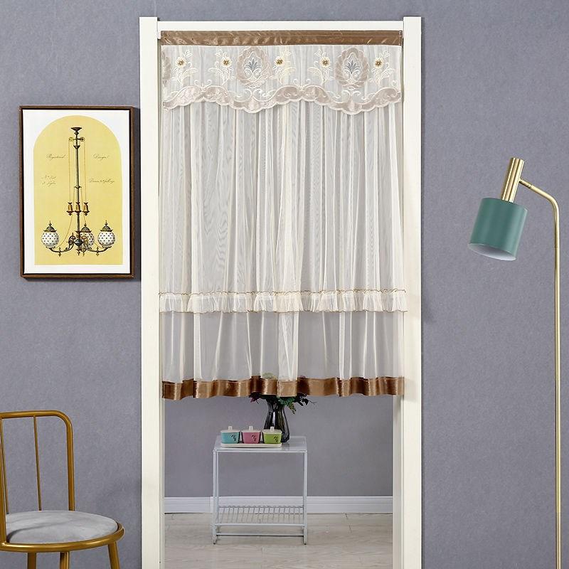 家用防蚊魔术贴门帘布艺粘贴卧室客厅隔断帘厨房装饰长款纱布帘子