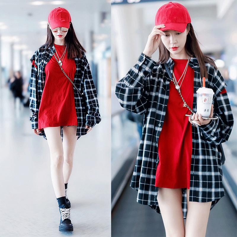 沈梦辰同款黑白格子衬衫女宽松拼接长袖小心机外套两件套上衣服潮78.00元包邮